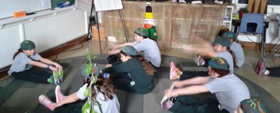 Grade 3 students at The Toronto Heschel School practice yoga